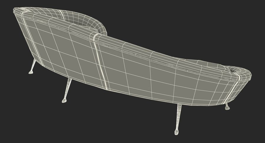 复古风格弯曲的沙发黄色 royalty-free 3d model - Preview no. 20