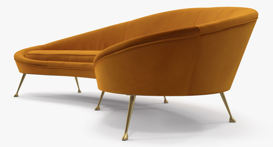 复古风格弯曲的沙发黄色 royalty-free 3d model - Preview no. 5