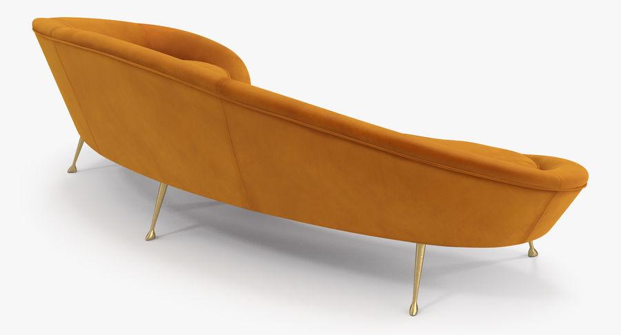 复古风格弯曲的沙发黄色 royalty-free 3d model - Preview no. 7