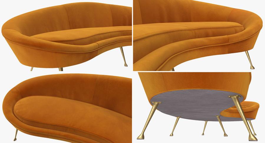 复古风格弯曲的沙发黄色 royalty-free 3d model - Preview no. 11