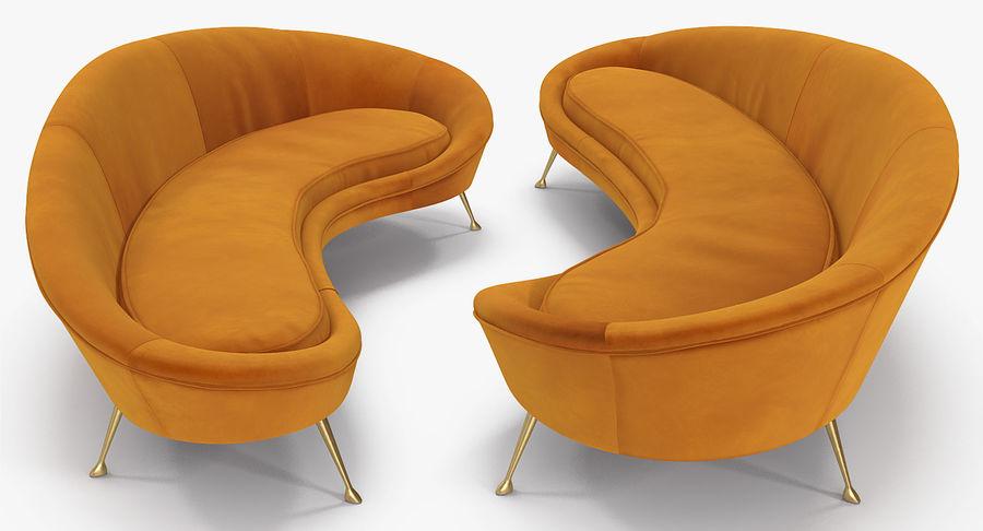复古风格弯曲的沙发黄色 royalty-free 3d model - Preview no. 8