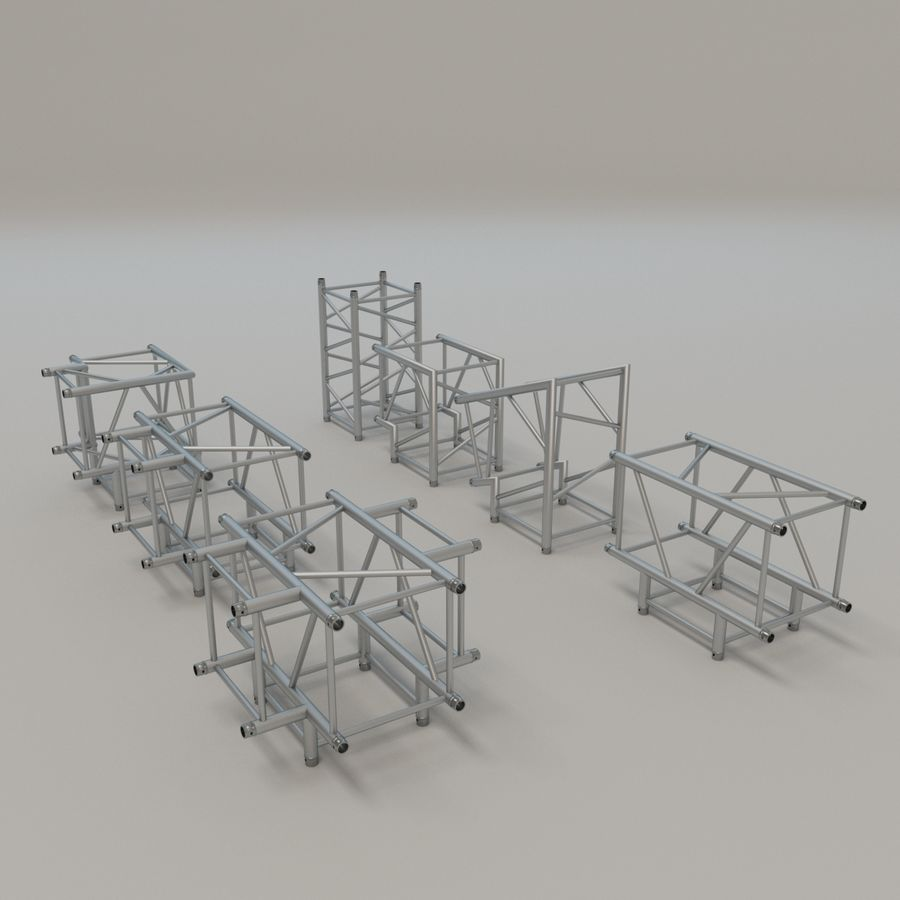 Square Truss Straight 52cm - corner set royalty-free 3d model - Preview no. 2