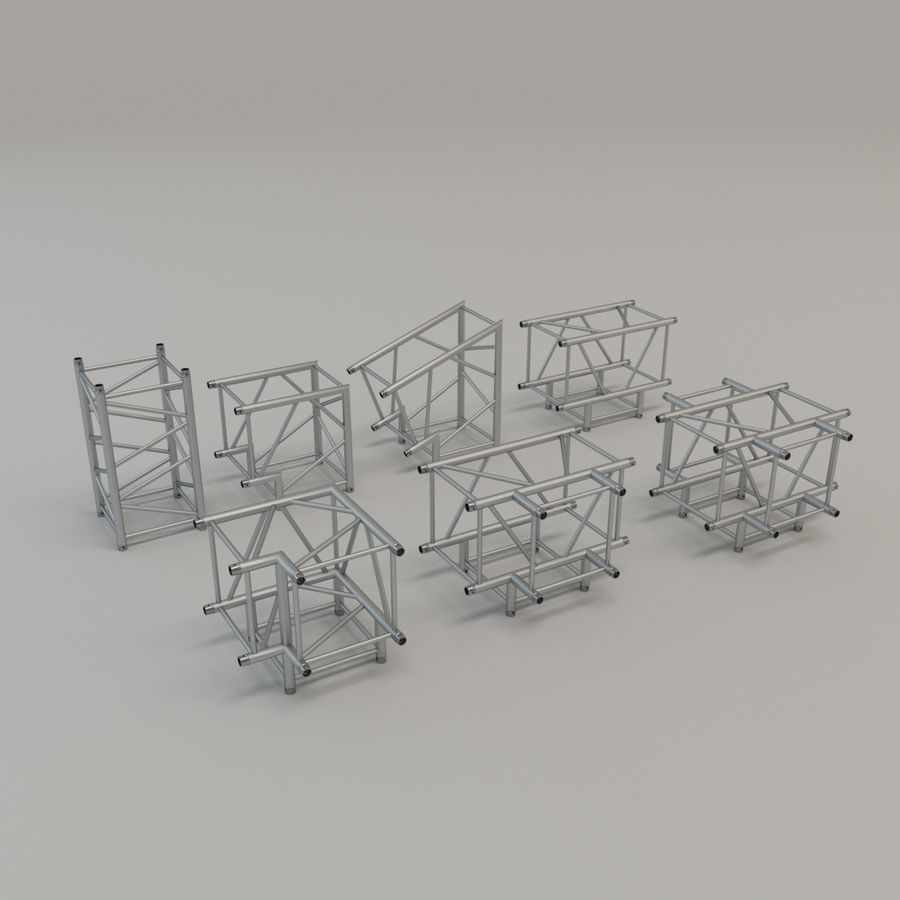 Square Truss Straight 52cm - corner set royalty-free 3d model - Preview no. 1