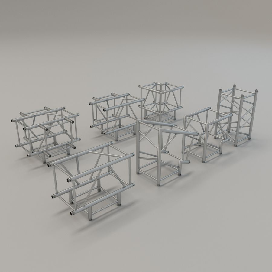 Square Truss Straight 52cm - corner set royalty-free 3d model - Preview no. 3