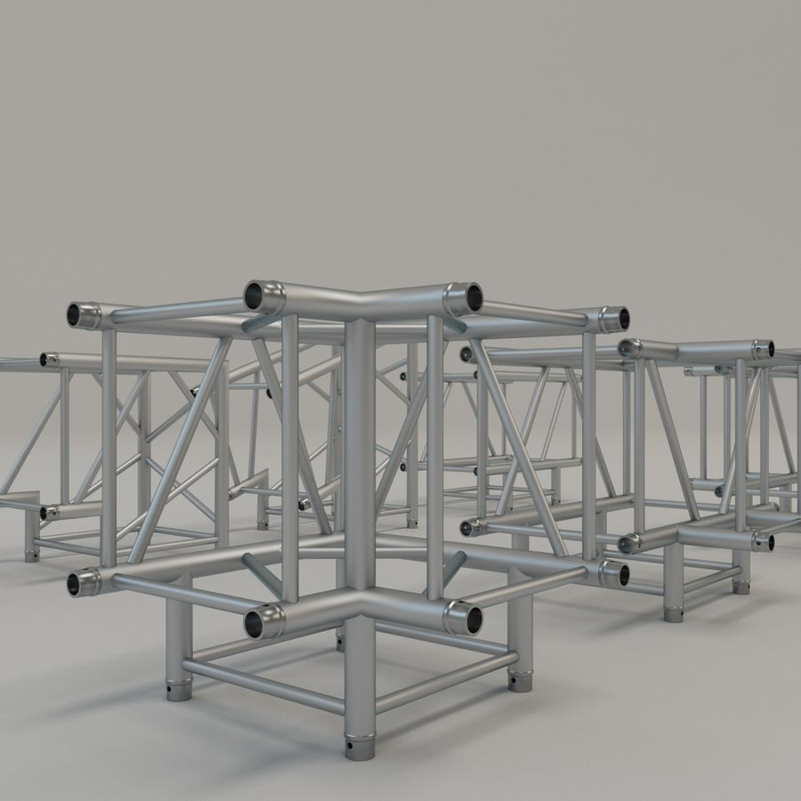 Square Truss Straight 52cm - corner set royalty-free 3d model - Preview no. 5