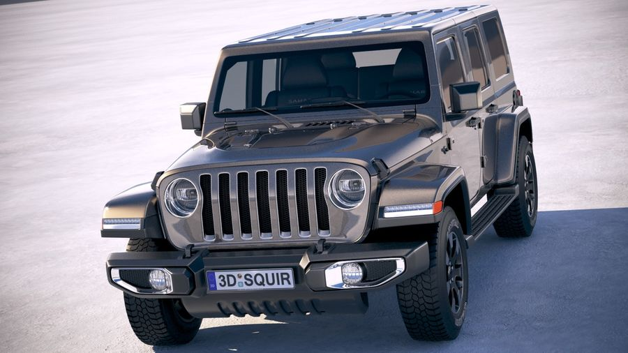 Jeep Wrangler Unlimited Sahara 2018 royalty-free 3d model - Preview no. 2