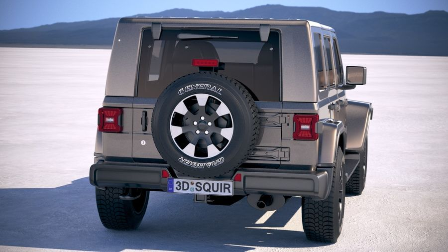 Jeep Wrangler Unlimited Sahara 2018 royalty-free 3d model - Preview no. 6