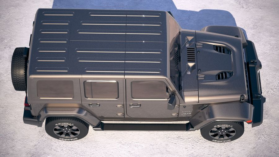 Jeep Wrangler Unlimited Sahara 2018 royalty-free 3d model - Preview no. 8
