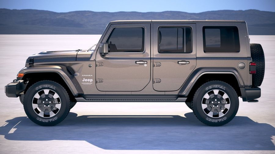 Jeep Wrangler Unlimited Sahara 2018 royalty-free 3d model - Preview no. 7