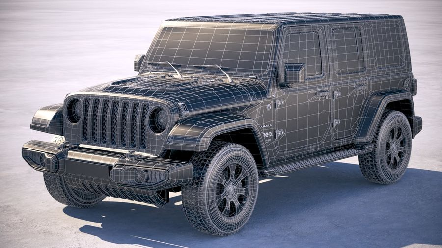Jeep Wrangler Unlimited Sahara 2018 royalty-free 3d model - Preview no. 24