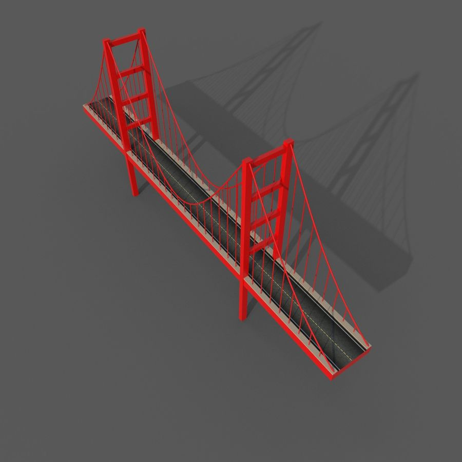Cartoony Bridge royalty-free 3d model - Preview no. 3