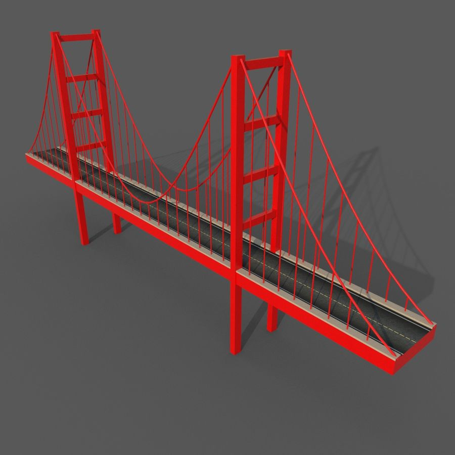 Cartoony Bridge royalty-free 3d model - Preview no. 2