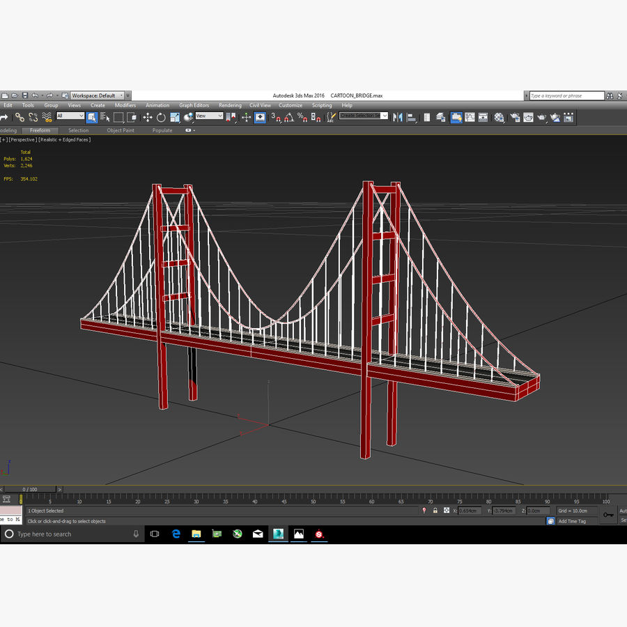 Cartoony Bridge royalty-free 3d model - Preview no. 9