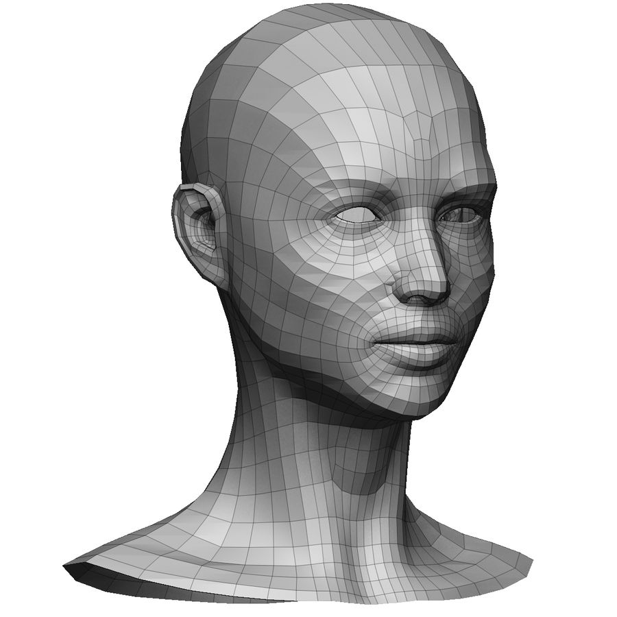 Base mesh female head royalty-free 3d model - Preview no. 3