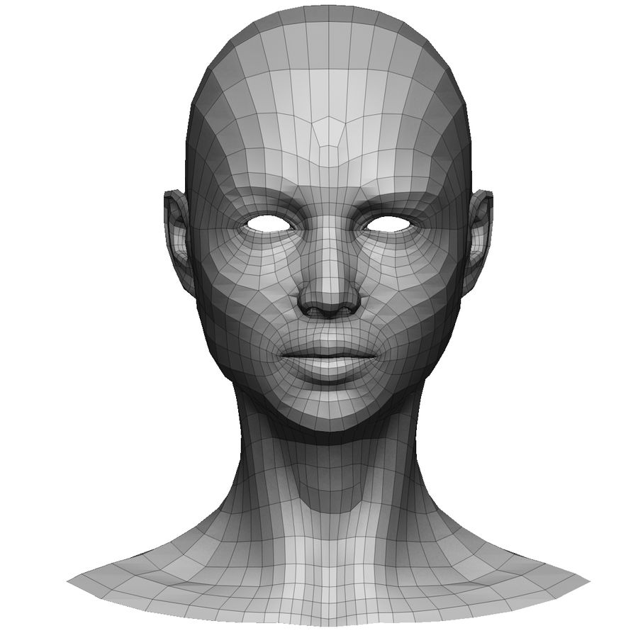 Base mesh female head royalty-free 3d model - Preview no. 1