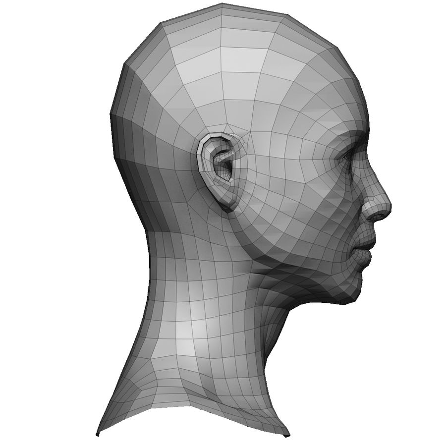 Base mesh female head royalty-free 3d model - Preview no. 4