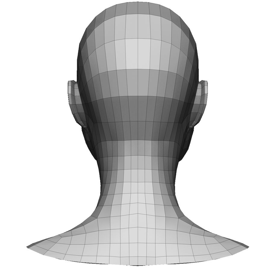 Base mesh female head royalty-free 3d model - Preview no. 5