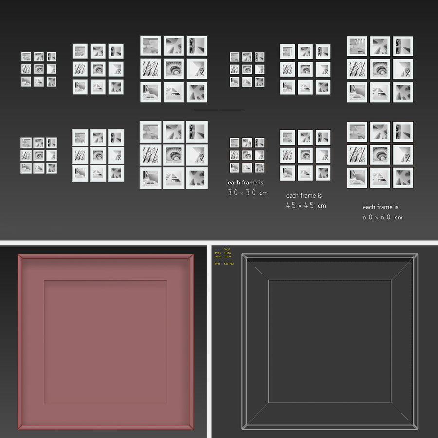 Picture Frames Set -3 royalty-free 3d model - Preview no. 6