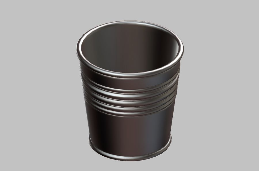 Metal Plant Pot royalty-free 3d model - Preview no. 4