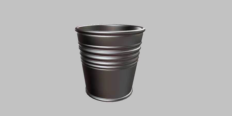 Metal Plant Pot royalty-free 3d model - Preview no. 5
