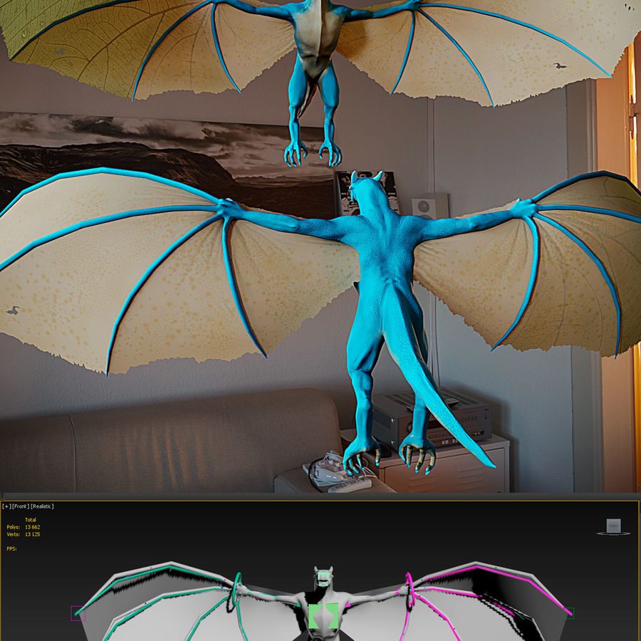 Wyvern royalty-free 3d model - Preview no. 3