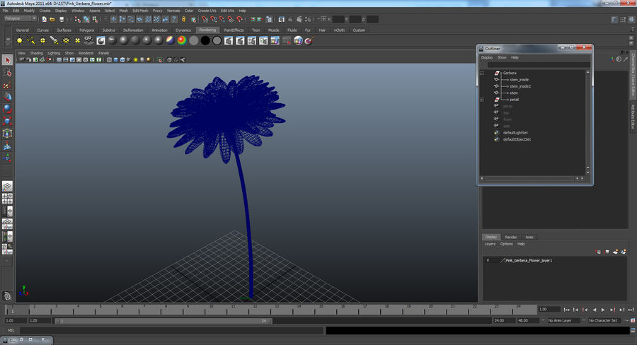 Red Gerbera Flower royalty-free 3d model - Preview no. 13