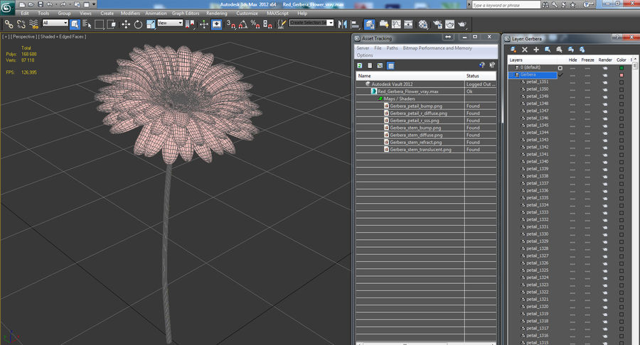 Red Gerbera Flower royalty-free 3d model - Preview no. 11