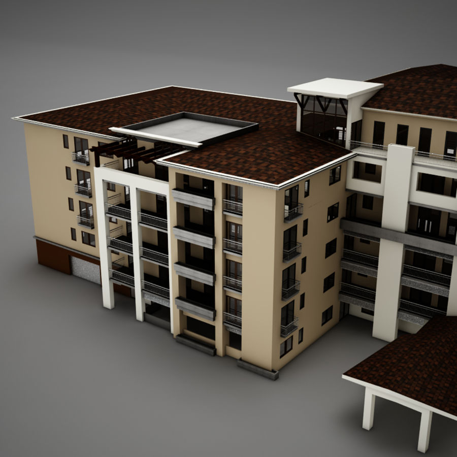Modern Tropical Latin Mexican Beach Tower Hotel Hacienda royalty-free 3d model - Preview no. 6