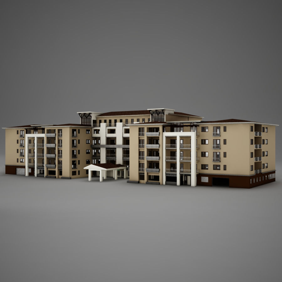 Modern Tropical Latin Mexican Beach Tower Hotel Hacienda royalty-free 3d model - Preview no. 3