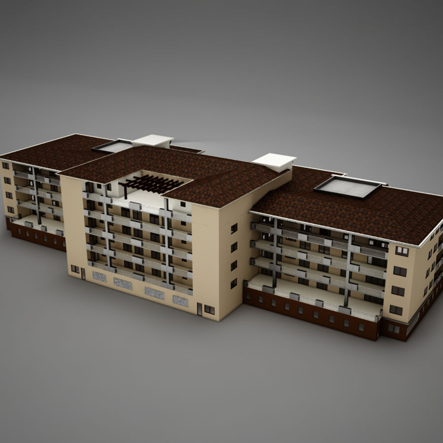 Modern Tropical Latin Mexican Beach Tower Hotel Hacienda royalty-free 3d model - Preview no. 8