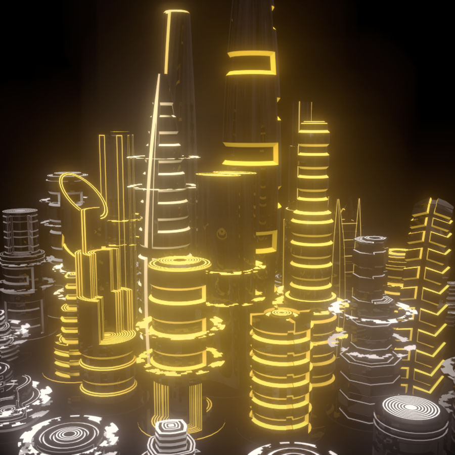 SciFi City royalty-free 3d model - Preview no. 3