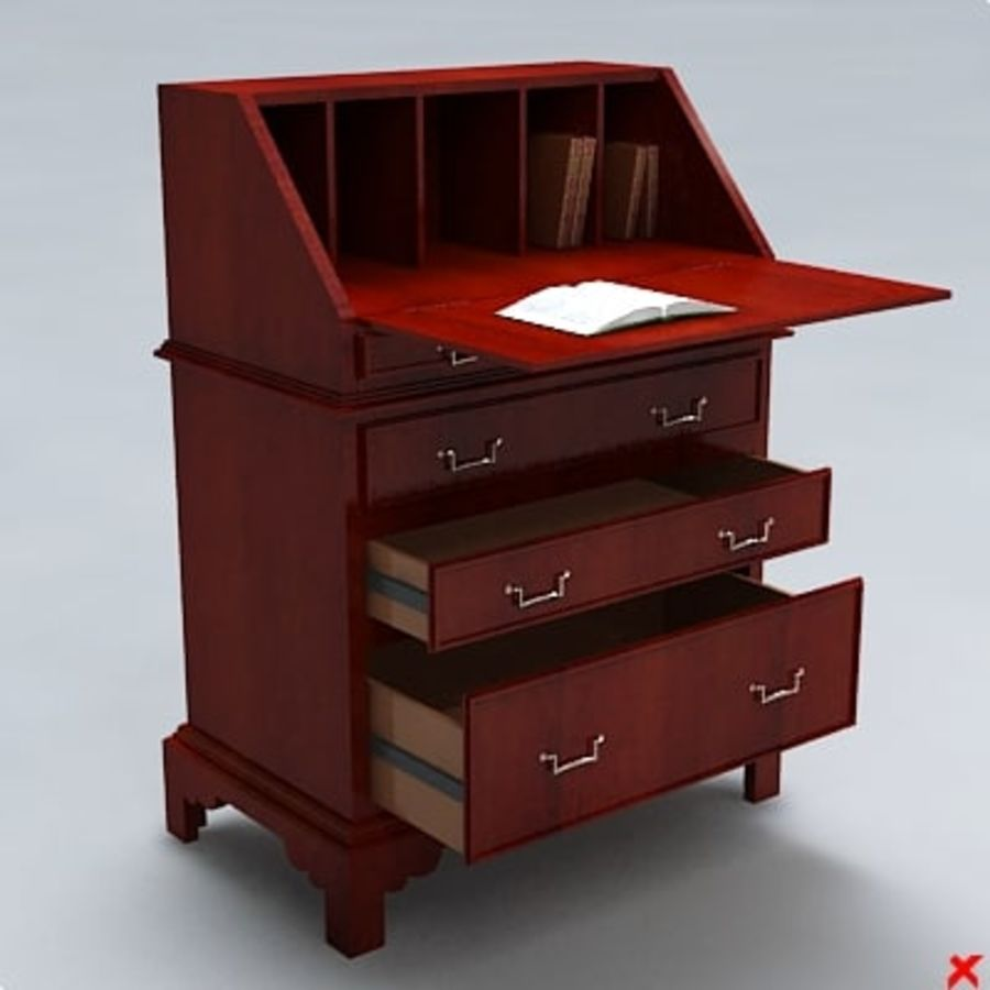 Desk old fashioned004 royalty-free 3d model - Preview no. 2