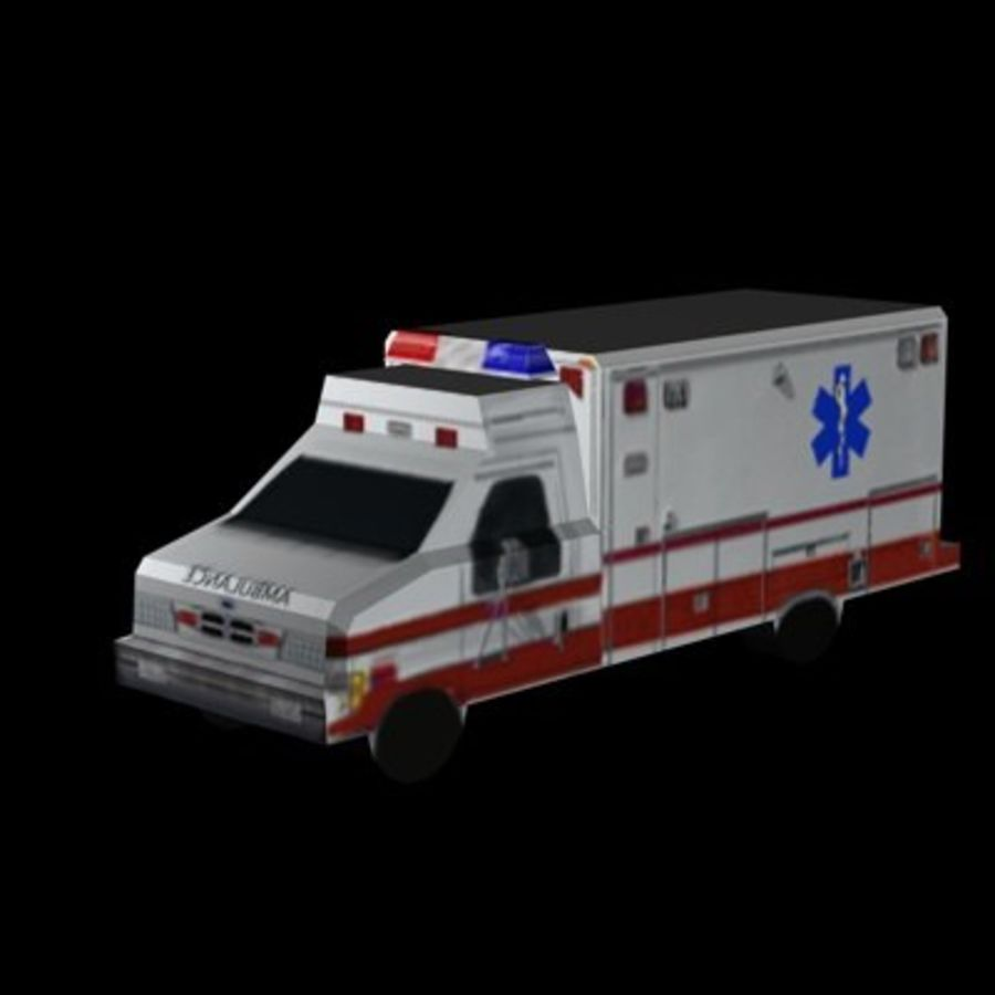Ambulance Low Res 3ds royalty-free 3d model - Preview no. 2