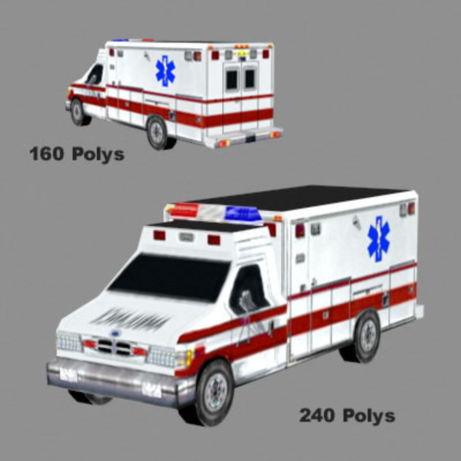 Ambulance Low Res 3ds royalty-free 3d model - Preview no. 1