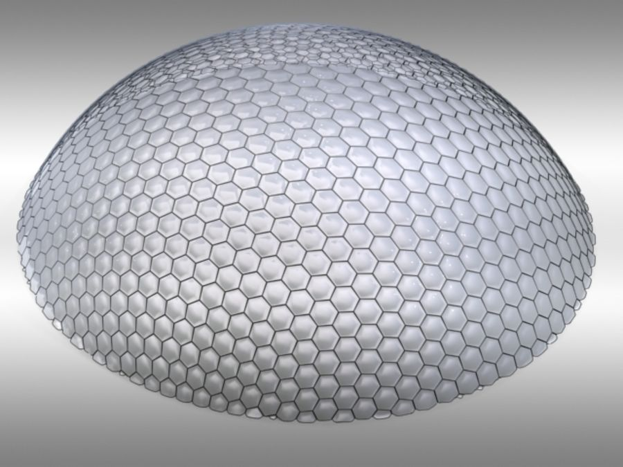50 Meter Geodesic Dome royalty-free 3d model - Preview no. 3