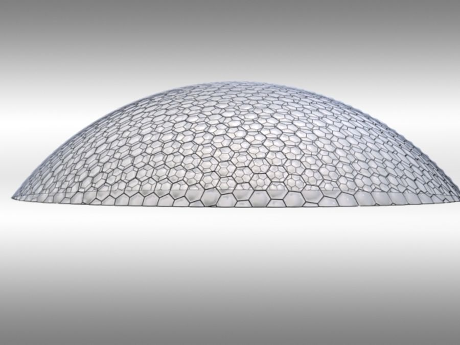 50 Meter Geodesic Dome royalty-free 3d model - Preview no. 2