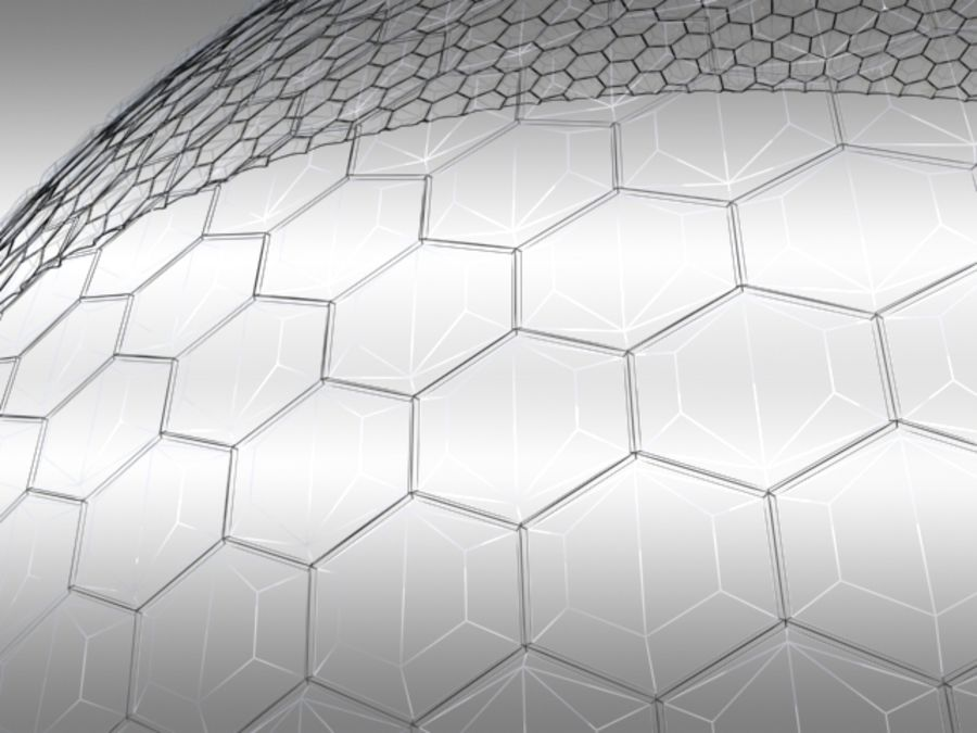 50 Meter Geodesic Dome royalty-free 3d model - Preview no. 6