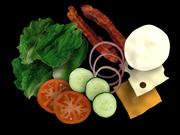 verduras queso tocino modelo 3d