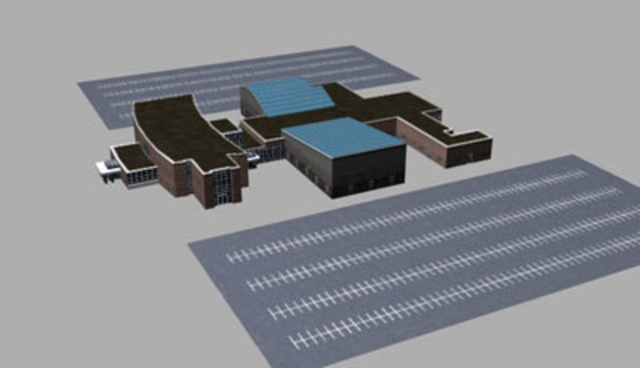 School building royalty-free 3d model - Preview no. 1