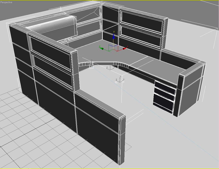 cubicle3DS.3DS royalty-free 3d model - Preview no. 2