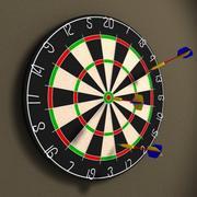 Dart Board and Darts 3d model