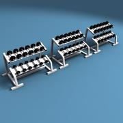 Dumbell Weights Rack 3d model
