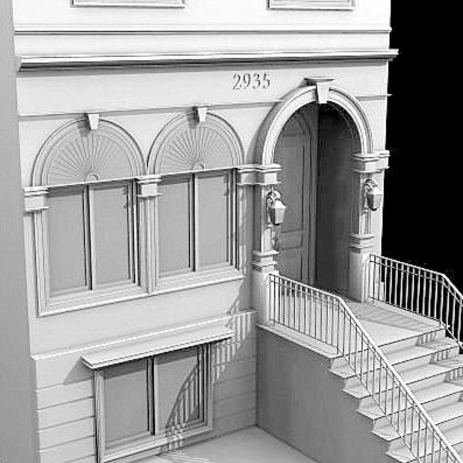 Chicago Brownstone royalty-free 3d model - Preview no. 2