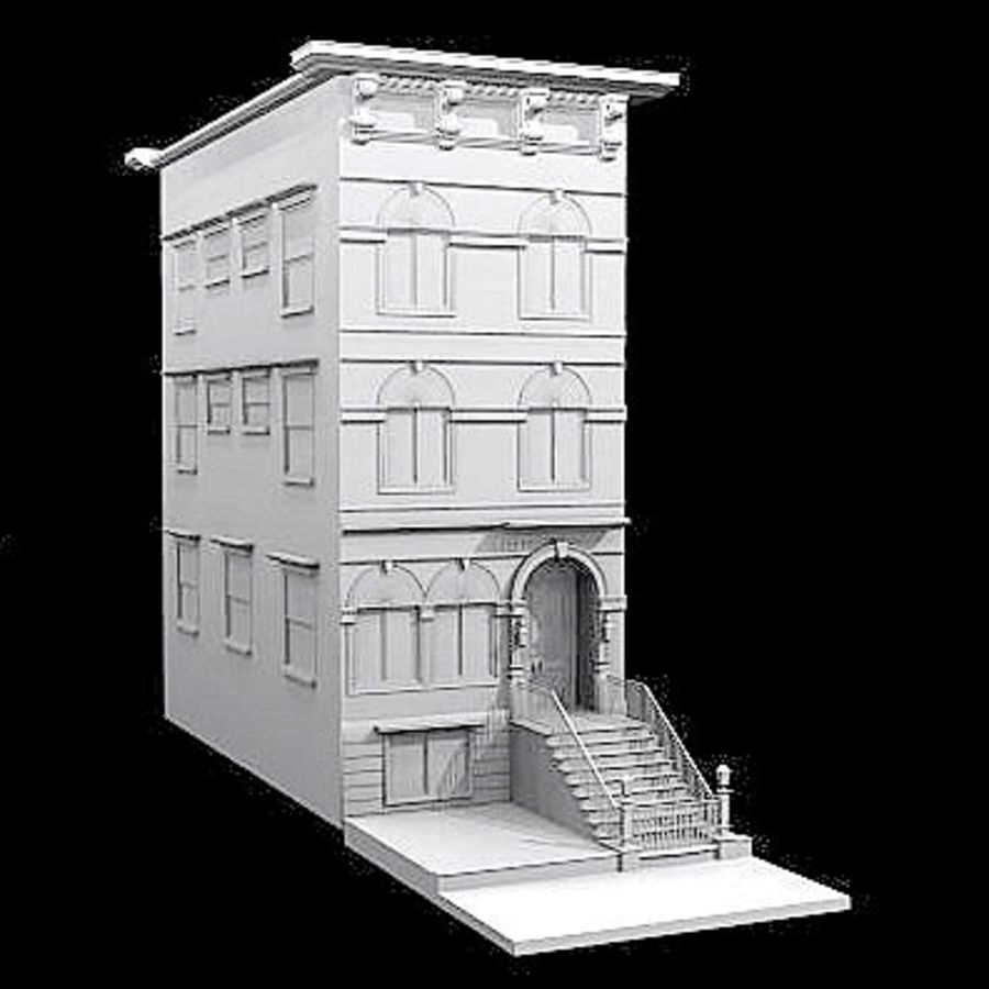 Chicago Brownstone royalty-free 3d model - Preview no. 4