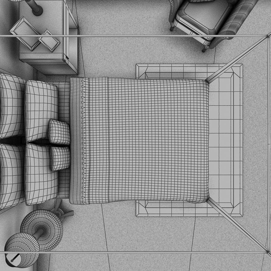 bed black.zip royalty-free 3d model - Preview no. 7