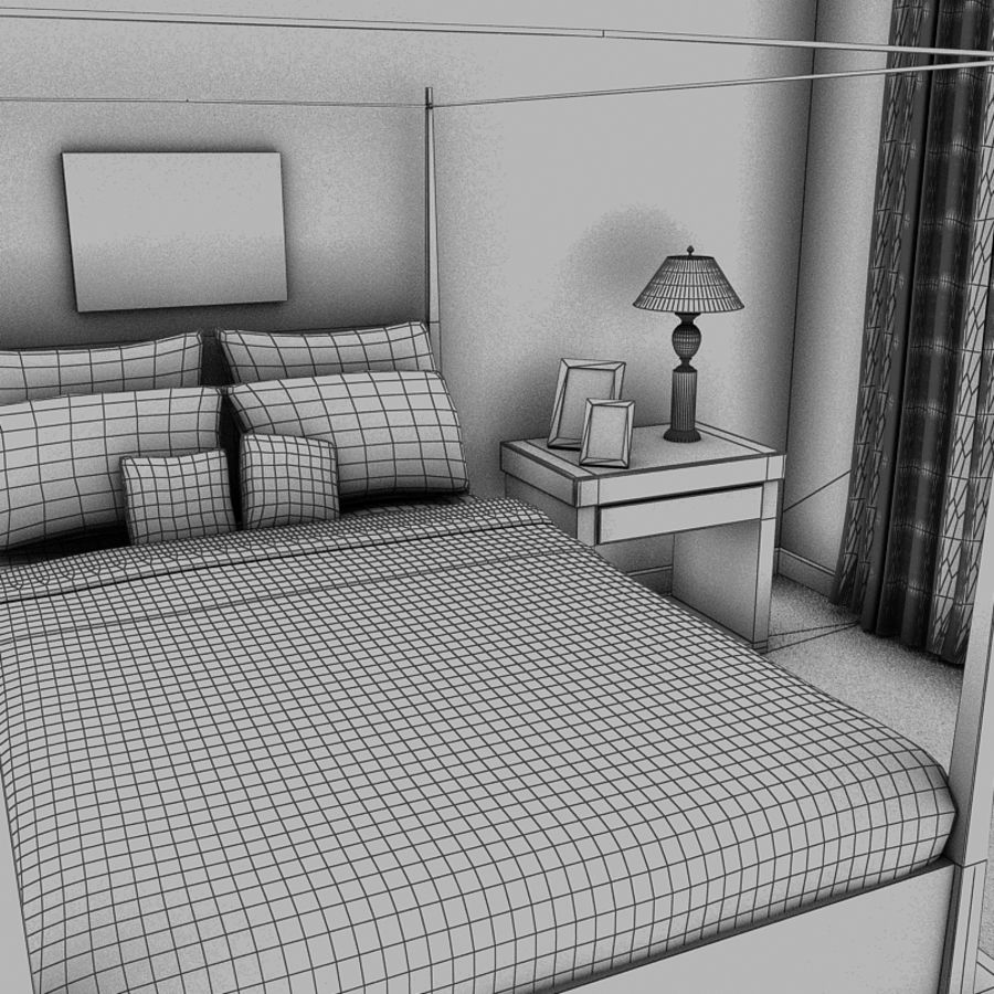 bed black.zip royalty-free 3d model - Preview no. 8