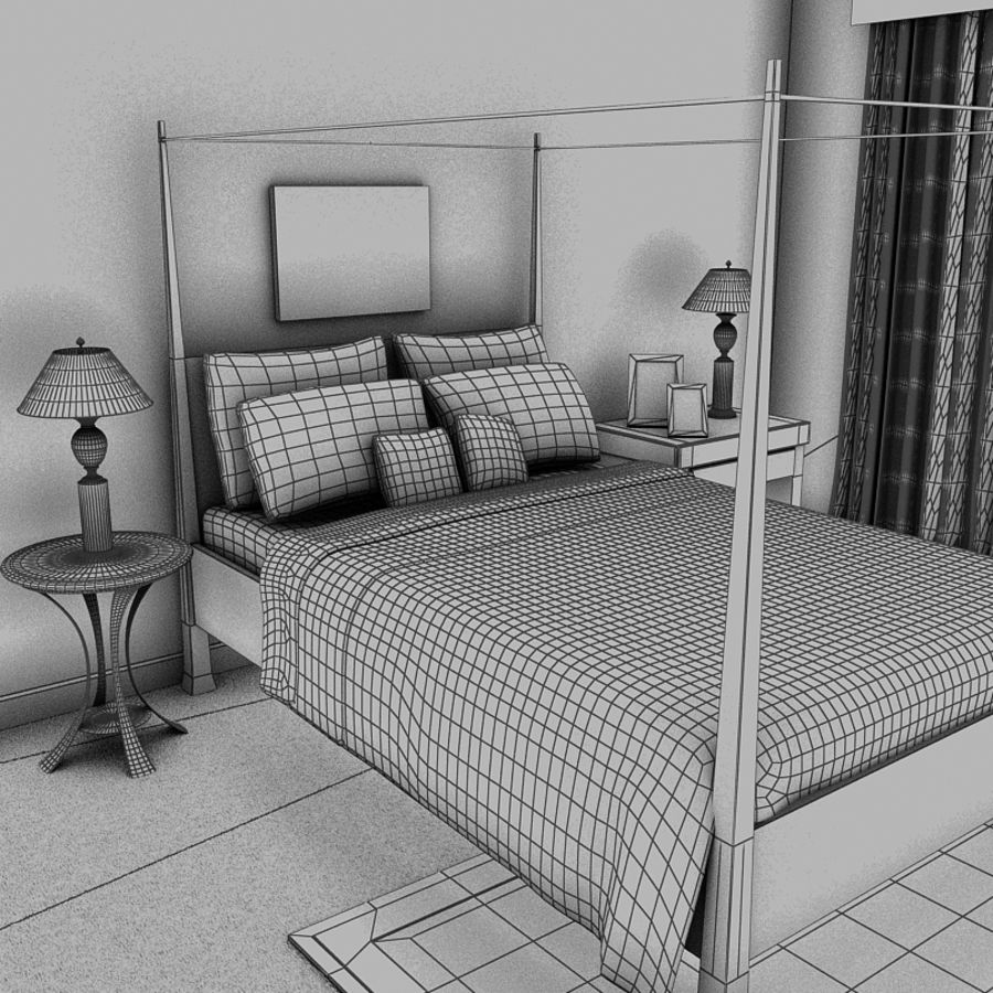 bed black.zip royalty-free 3d model - Preview no. 9