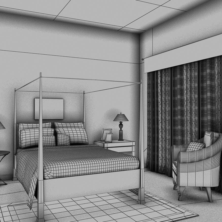 bed black.zip royalty-free 3d model - Preview no. 6