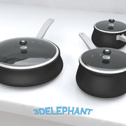 Cookware - 6 piece pan set 3d model