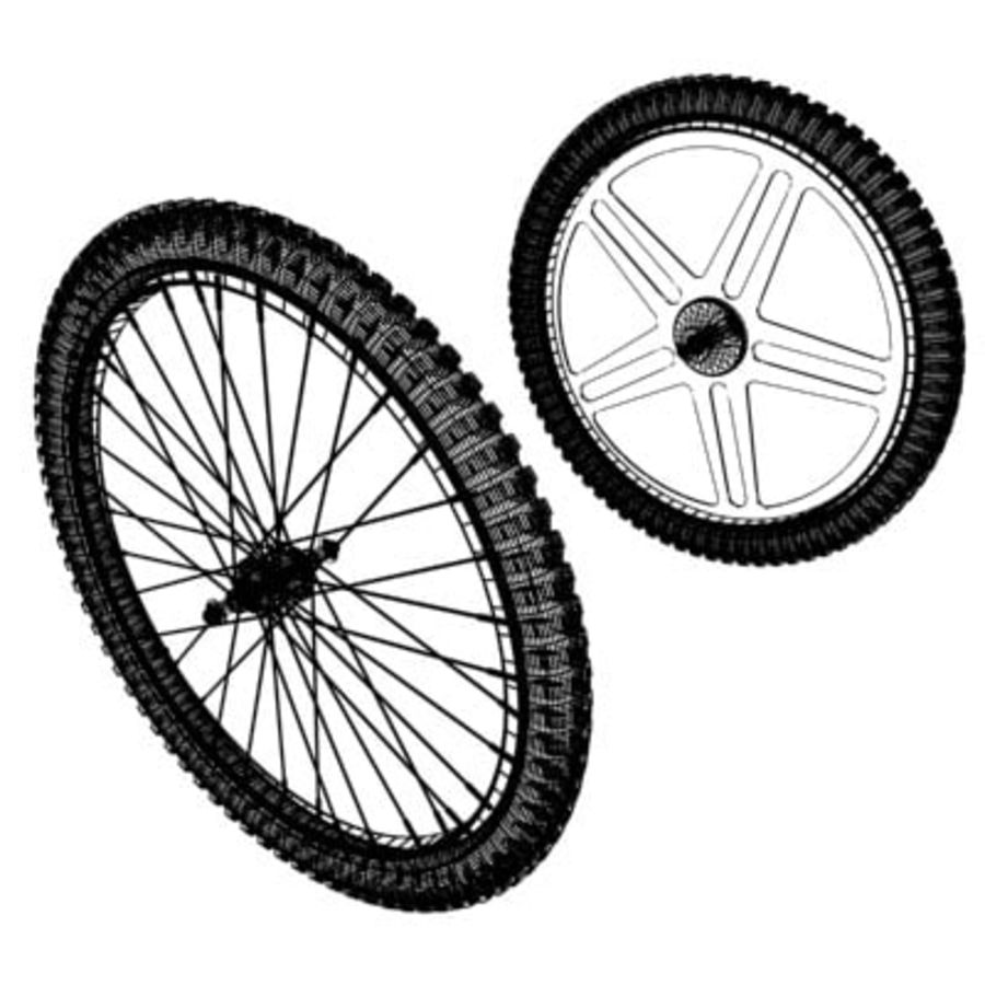 Two types of bicycle wheels royalty-free 3d model - Preview no. 2